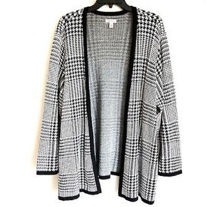 Open Front Houndstooth Cardigan